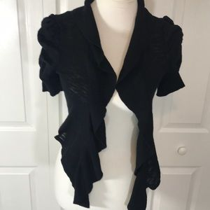 Take Out Junior Womens Small Black Open Cardigan